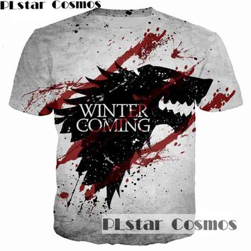 PLstar Cosmos Game of Thrones Printed 3D Men T-shirt casual men tshirt Tops House Stark of Winterfell badge unisex t shirt