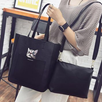 new fashion women cat print handbag shoulder bag leather messenger hobo bag satchel tote purse gift  number 1