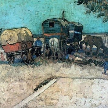 Gypsy Camp With Horse Carriage - Art Print