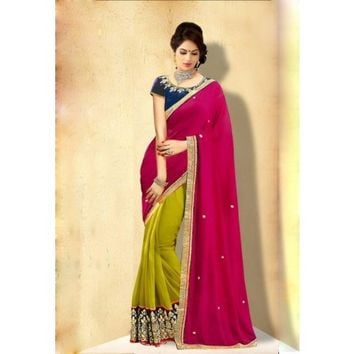 Georgette Border Work Green & Pink Half & Half Saree - 102
