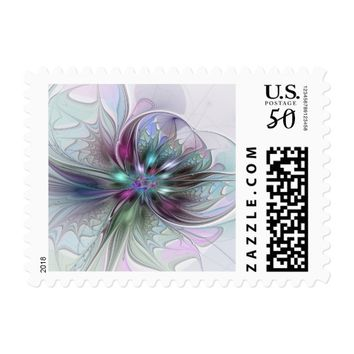 Colorful Fantasy Abstract Modern Fractal Flower Postage