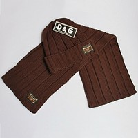 D&G Dolce & Gabbana autumn and winter new men and women scarf hat two-piece F0908-1 coffee
