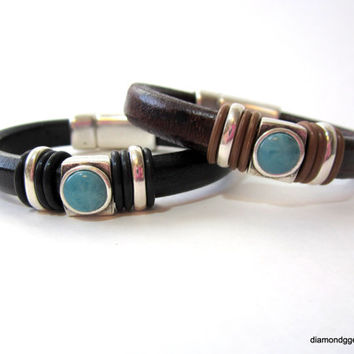 Womens Thick Leather Bracelet Black Brown Licorice Leather Turquoise Slider Magnetic Clasp Regaliz Leather Bangle Mens Chunky Leather Bangle