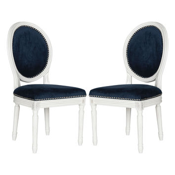 Safavieh Holloway Oval Side Chairs (Set of 2) - Dark Blue/Navy