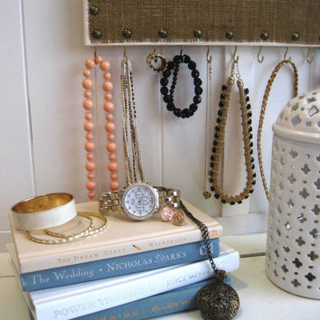 Studded Jewelry Hanger / Burlap & Hooks / White Distressed Rustic Wood Necklace Bracelet Organizer