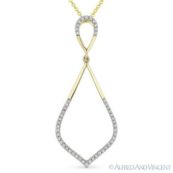 0.13ct Round Cut Diamond Pave 14k Yellow Gold Marquise Pendant   91672dbd74