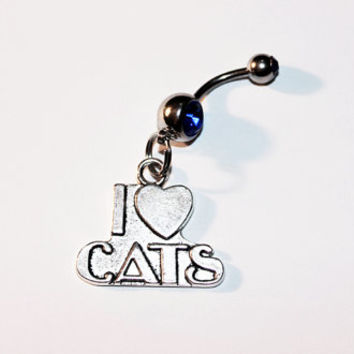 I Love Cats, Belly Button Ring, Navel Ring, Cat Lady, I Heart Cats, Cat Jewelry, Belly Piercing