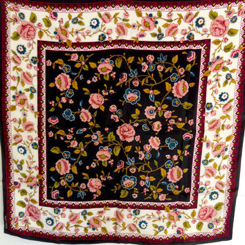 Ellen Tracy Silk Scarf Heavy Soft High Quality Designer Wrap 34 Square Tuberoses Floral Roses Pink Blue Gold Red Vintage