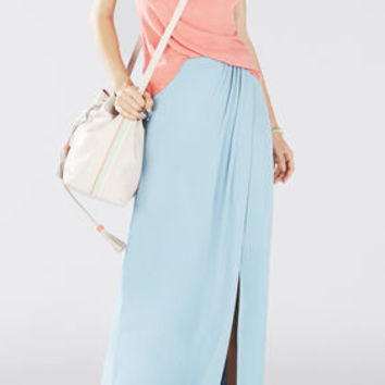 Blue BCBG Andreea Overlapped Draped Skirt