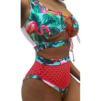 2 Two Piece Bikini Women's Bandage Bathing Suit Swimwear Brazilian Mesh Sexy Women Bikini Set Two Pieces Swimsuit KO_21_2