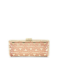Pink BCBG Kerri Metallic Triangle Perforated Cage Clutch