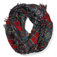 jeweled and plaid print scarf