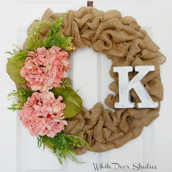 Personalized Burlap Wreath,Front Door Wreath, Spring Wreath, Summer Wreath, Burlap Wreath, Initial Wreath, Pink Hydrangea, Greenery