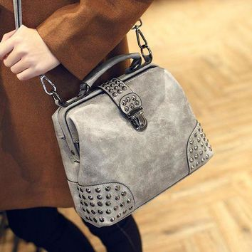 CREYON Day First Vintage Gray Leather Studded Crossbody Doctor Bag Shoulder Handbag