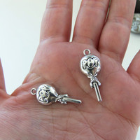 6 Lollipop charms, blow pop charms, lollipop charm, blow pop charm, candy charms, sucker charms, sweets, lolly pop, silver charms - F336