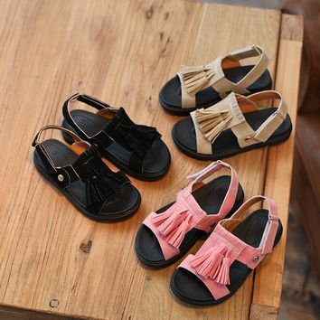 childrens leather sandals 2017 summer new fashion pink tassels boys beach shoes beach