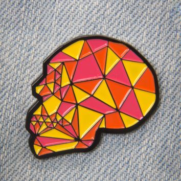 Geometric Crystal Skull Enamel Pin in Pink, Orange, and Yellow