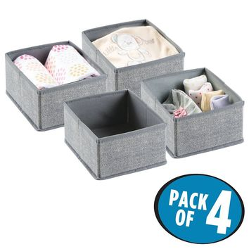 mDesign Fabric Baby Nursery Closet Organizer for Clothing, Bibs, Diapers, Wipes, Lotion - Pack of 4, Gray