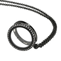 30mm Black Locket Necklace With White Crystal Face, Free Chain Included, USA Seller, Ships Super Fast