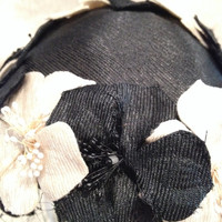 Black and White Vintage Flowered Half Hat with Veil 50s