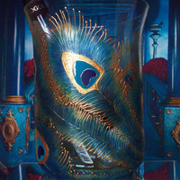 Hand painted bottle coolrer Peacock feathers in gold, blue and turquoise color Wedding Centerpiece Vase