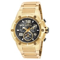 Invicta 19530 Men's Speedway Black Dial Yellow Gold Steel Bracelet Chronograph Watch