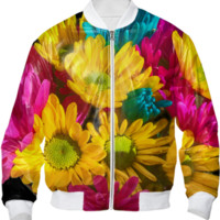 Spring Daisies 2 Bomber Jacket created by Blooming Vine Design   Print All Over Me