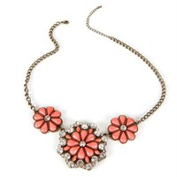 Burnt Gold/Coral Flower Trio Necklace