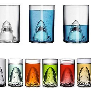 1PC Longming Home Glass Travel Coffee Mug Shark Tea Beer Water Cup Funny Christmas Mugs Adult Kids Gifts Espresso Cups JQ 1071