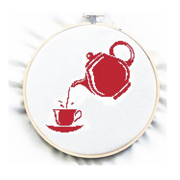 Tea Time in Red PDF pattern, Counted cross stitch, Teapot, No.88