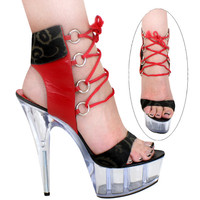 Red Leather Lace Up 6 Inch Heels Pole Dancers Shoe