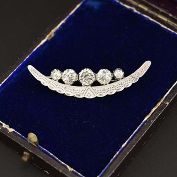 Antique Victorian Crescent Moon Diamond Paste Brooch