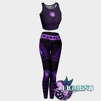 Cyberpunk Outfit in Purple - Crop Top & Leggings - cyberpunk costume, rave outfit, Tron costume, Halloween costume, cybergoth, robot, cyborg