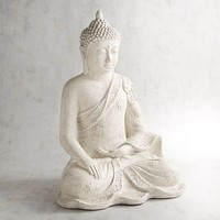 Antiqued White Sitting Buddha