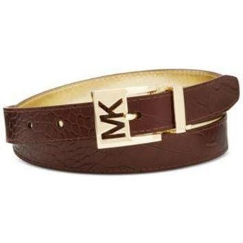 MICHAEL Michael Kors Reversible Croc Embossed Leather MK Logo Belt