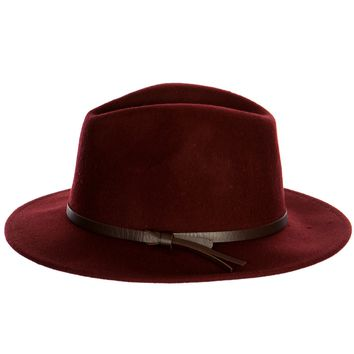 Hat With Leather Band Burgundy