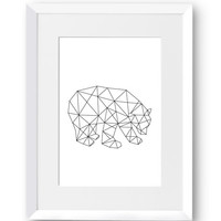 Polar Bear, Ice, Polygon, Swedish, Home Decor, Contemporary, Modern art, Scandinavian Print, Printable art, Digital Print