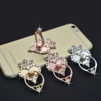 Popular Rose Gold Crown of Hearts Mobile Phone Ring Stand