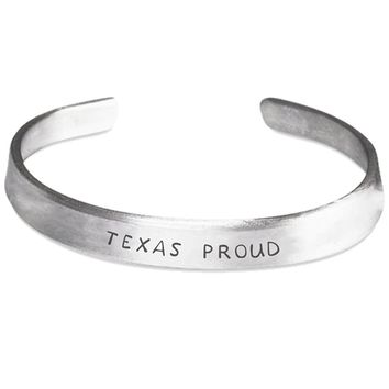 Texas Proud Silver Hand-Stamped Bracelet - One Size Fits All - Made in USA