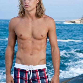 Navy Plaid Retro Lycra Swimmer