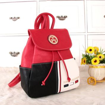 """Tommy Hilfiger"" Personality Casual Fashion Multicolor Backpack Women Double Shoulder Bag"