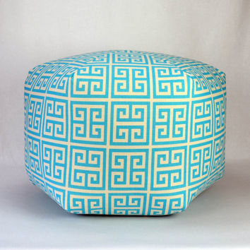 "24"" Floor Ottoman Pouf Pillow Mandarin Blue Natural - Towers Greek Key Contemporary Modern Print"