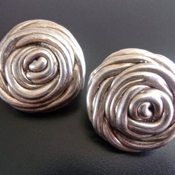 Sterling Silver BAT AMI Swirl Earrings, Clip Rosettes, Vintage