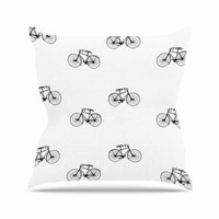 "Suzanne Carter ""Vintage Wheels"" Black White Throw Pillow"