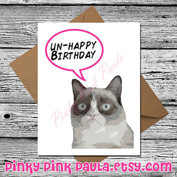 Grumpy Cat (Funny Birthday Card. Funny Cat Card. Cute Birthday Card. Happy Birthday Card. Card For Girlfriend. Boyfriend Birthday. Funny)
