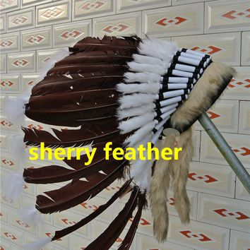 dark brown Indian Feather headdress indian war bonnet american costume indian chief feather bonnet hat halloween costume