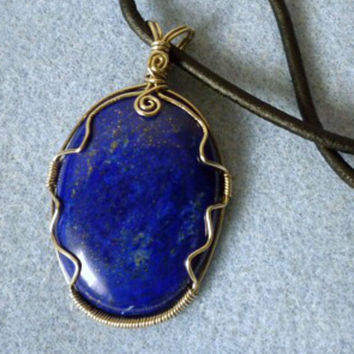 Wire wrap pendant handmade, Lapis natural stone pendant, wire wrapped jewelry, wire wrap stone, gypsy