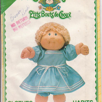Pattern for Cabbage Patch Kids long sleeved dress and bloomers with ribbon trim See and Sew by Butterick 5357 CUT and COMPLETE