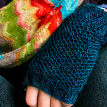 Hand knit fingerless gloves, alpaca wrist spats, knitted mitts, READY TO SHIP