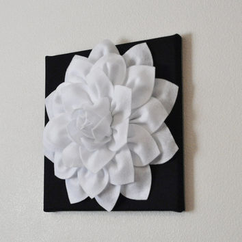 "TWO Flower Wall Hangings -White Dahlia on Black 12 x12"" Canvas Wall Art- Black and White Wall Decor"